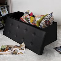 EOTVIA Practical PVC Leather Rectangle Shape with Leather Button Footstool Large Size Black, Practical Footstool, Rectangle Shape Footstool