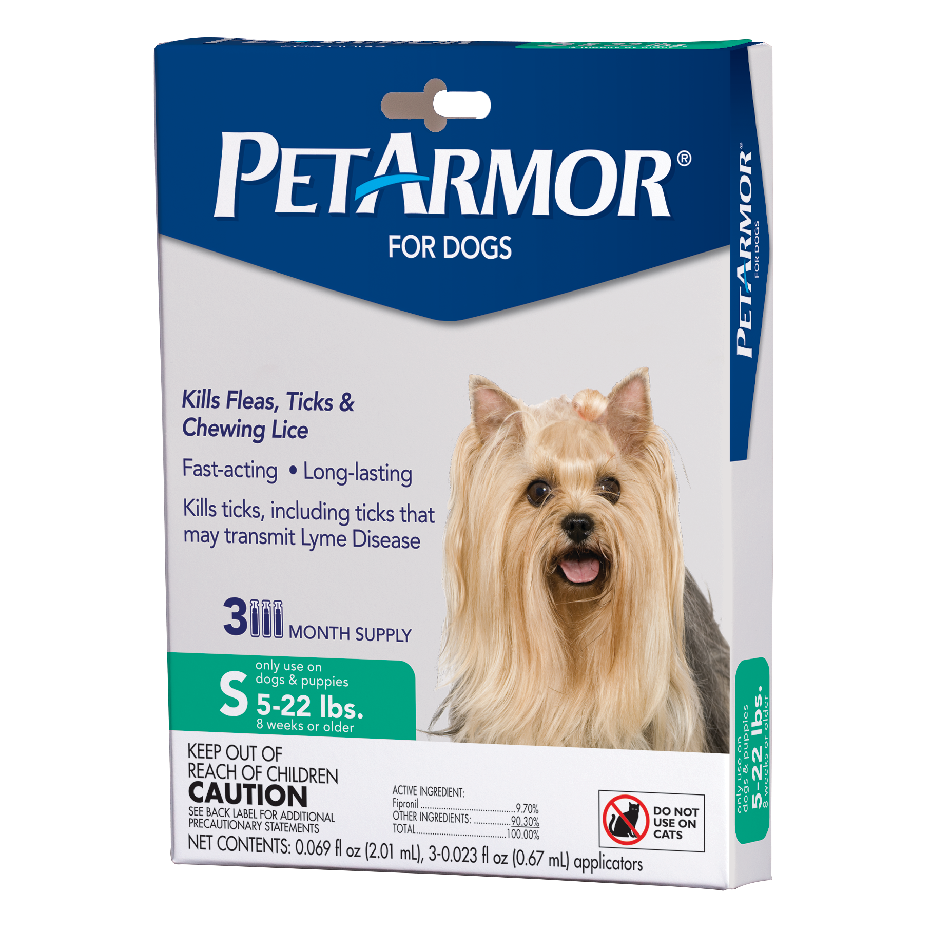 PetArmor Flea & Tick Prevention for Small Dogs with Fipronil (4 to 22 Pounds), 3 Monthly Treatments