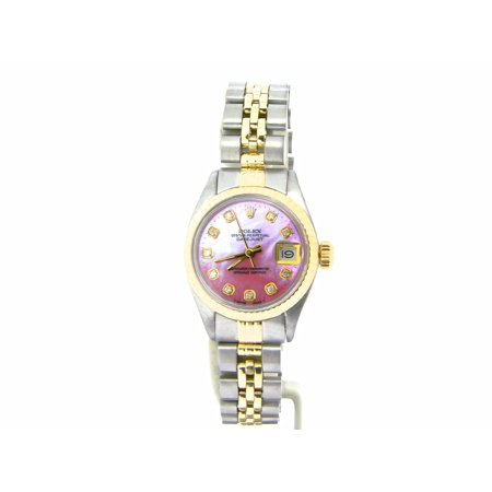 Pre-Owned Ladies Rolex Two-Tone 14K/SS Datejust Pink MOP Diamond 6917 (SKU 5344674NMT) (Rolex 2018)