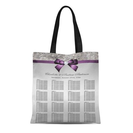 ASHLEIGH Canvas Tote Bag Elegant Wedding Seating Chart Silver Sequin Purple Violet Chic Reusable Handbag Shoulder Grocery Shopping Bags (Wedding Handbags)