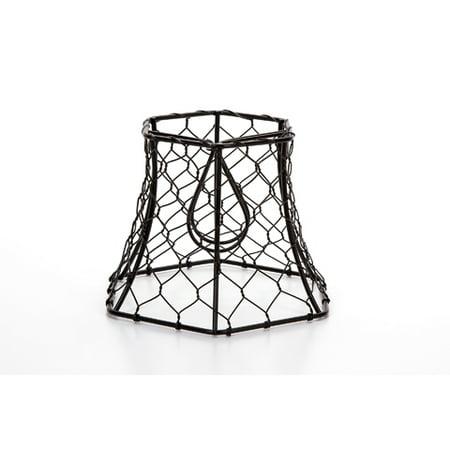 Cleveland Vintage Lighting Chicken Wire Clip-on Shade - Hexagonal - Black - 5.75 x 5 x 4 inches