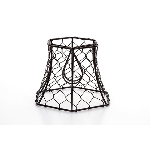 Cleveland Vintage Lighting Chicken Wire Clip-on Shade - Hexagonal - Black - 5.75 x 5 x 4 inches