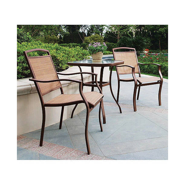 Mainstays Sand Dune 3-Piece Outdoor Bistro Set for Patio and Porch, Tan