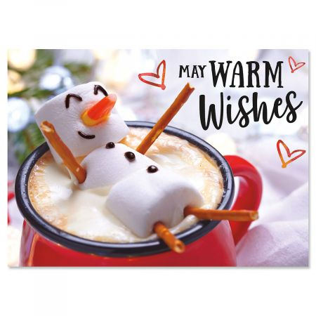 "Marshmellow Snowman Christmas Cards- Set of 18, 5"" x 7"""