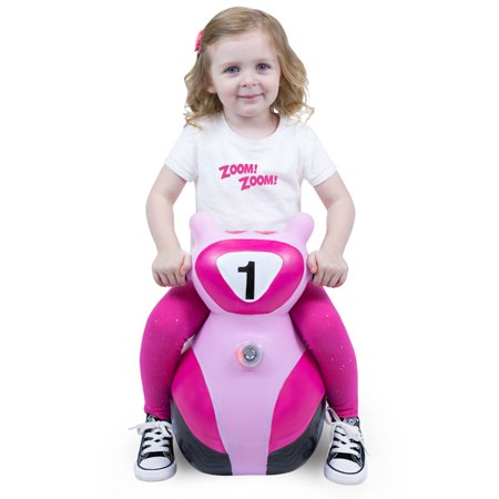 WADDLE Zoomer Preschool Bouncy Inflatable Hopper Scooter Bounce Buddy Light Up Ride On Jumping Motorcycle Bike with Sound Transportation Bouncer Toddler Children's Toy Active Kids Pink Holiday