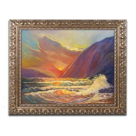 Trademark Fine Art  Hawaiian Coastal Sunset  Canvas Art By Manor Shadian  Gold Ornate Frame