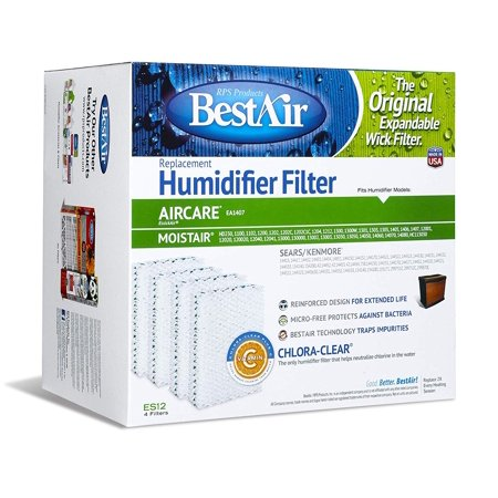 BestAir ES12-2 Extended Life Humidifier Replacement Paper Wick Humidifier Filter, For Emerson, Quiet Comfort & Kenmore Models, 10