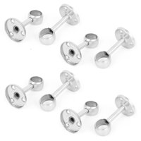 Unique Bargains 8pcs 19mm Dia Wall Mounted Closet Pipe Rod Lever Center Support Bracket