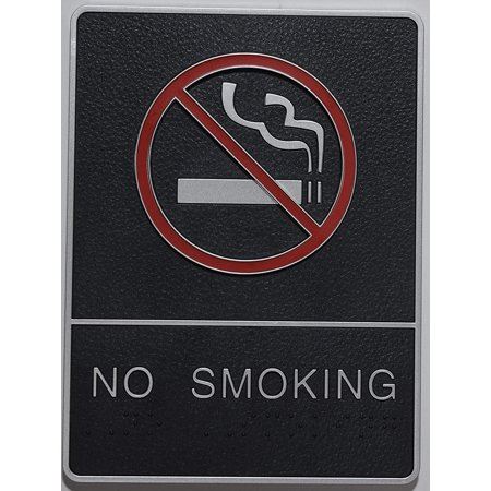ADA NO Smoking Sign with Braille and Double Sided Tap (Black,6x9 Comes with Double Sided Tape)- The Leather Sheffield ADA line ()