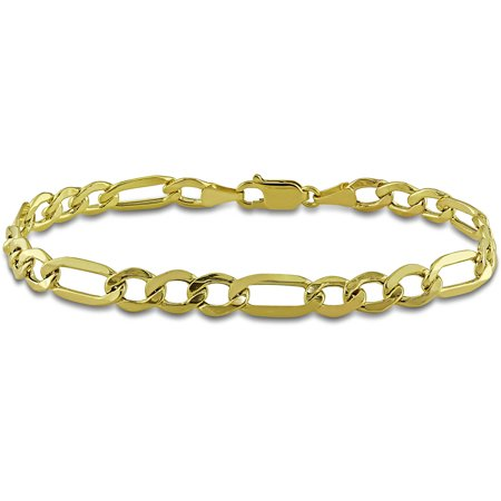 Mens Gold Figaro Bracelet - Miabella Men's 10kt Yellow Gold Figaro Bracelet, 9