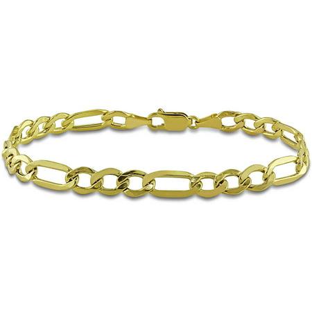 Mens Gold Figaro Bracelet - Asteria Men's 10kt Yellow Gold Figaro Bracelet, 9