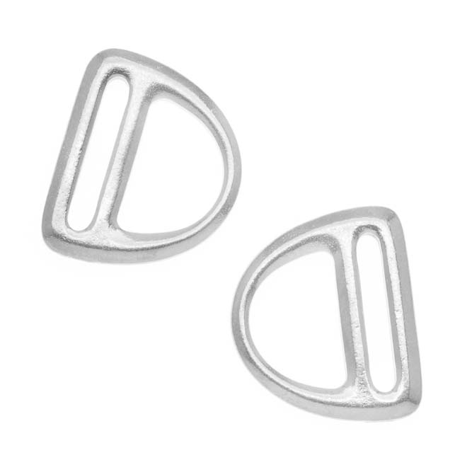 Bright Rhodium Plated Connector Link Slotted D Ring 19.5mm (2)