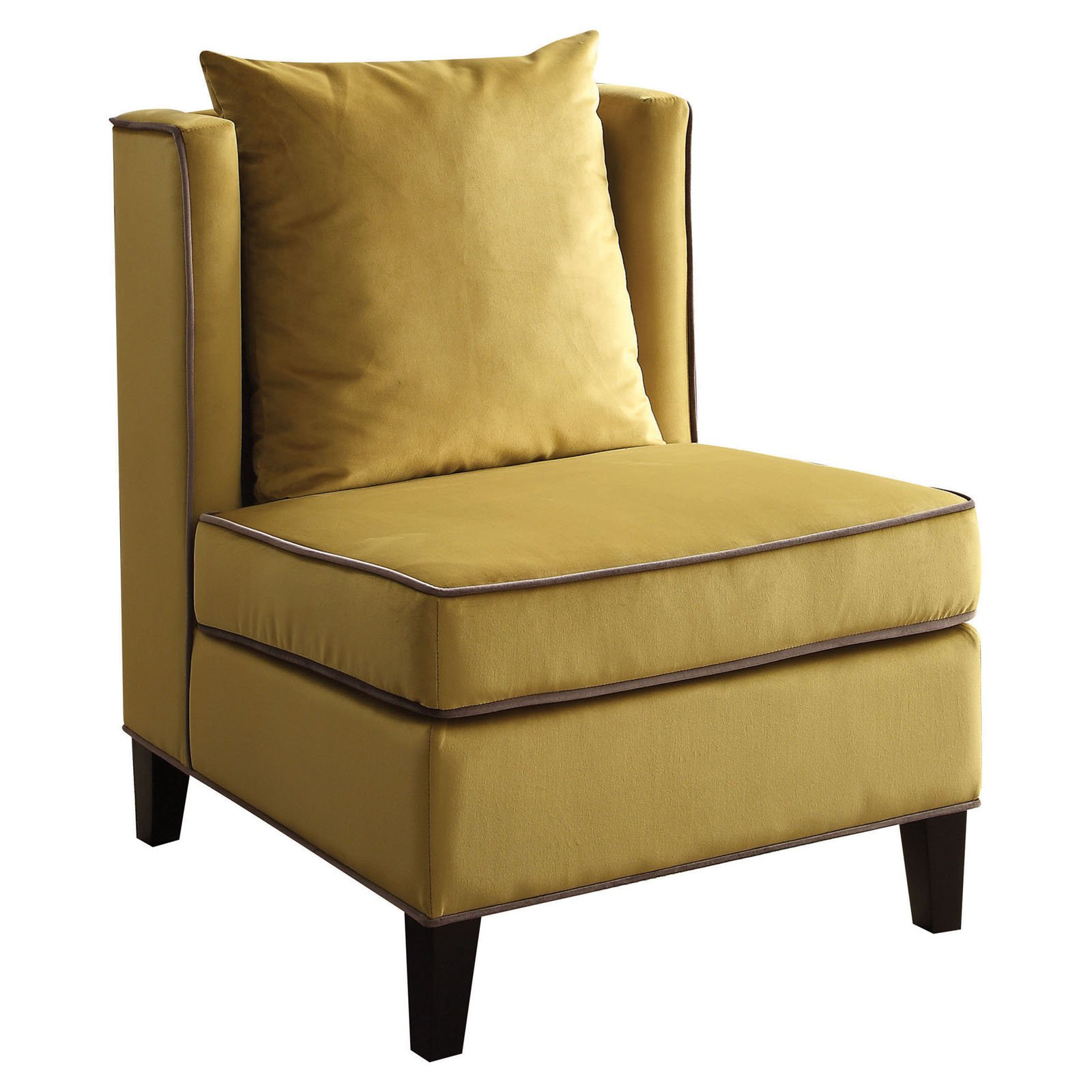 Sofa Mart Accent Chairs: ACME Ozella Accent Chair, Yellow Velvet