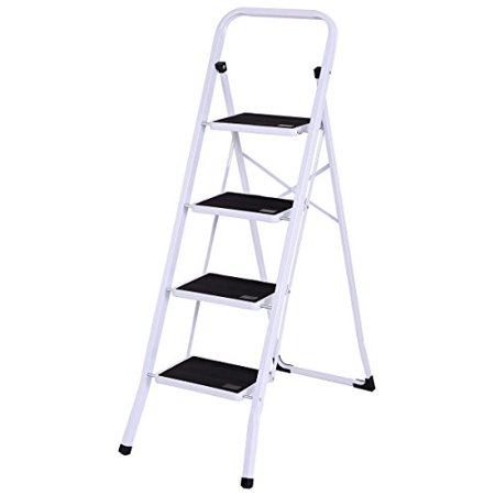 Steel Fixed Ladder - GHP 330-Lbs Capacity White & Black Steel 4-Step Folding Ladder with Curved Legs