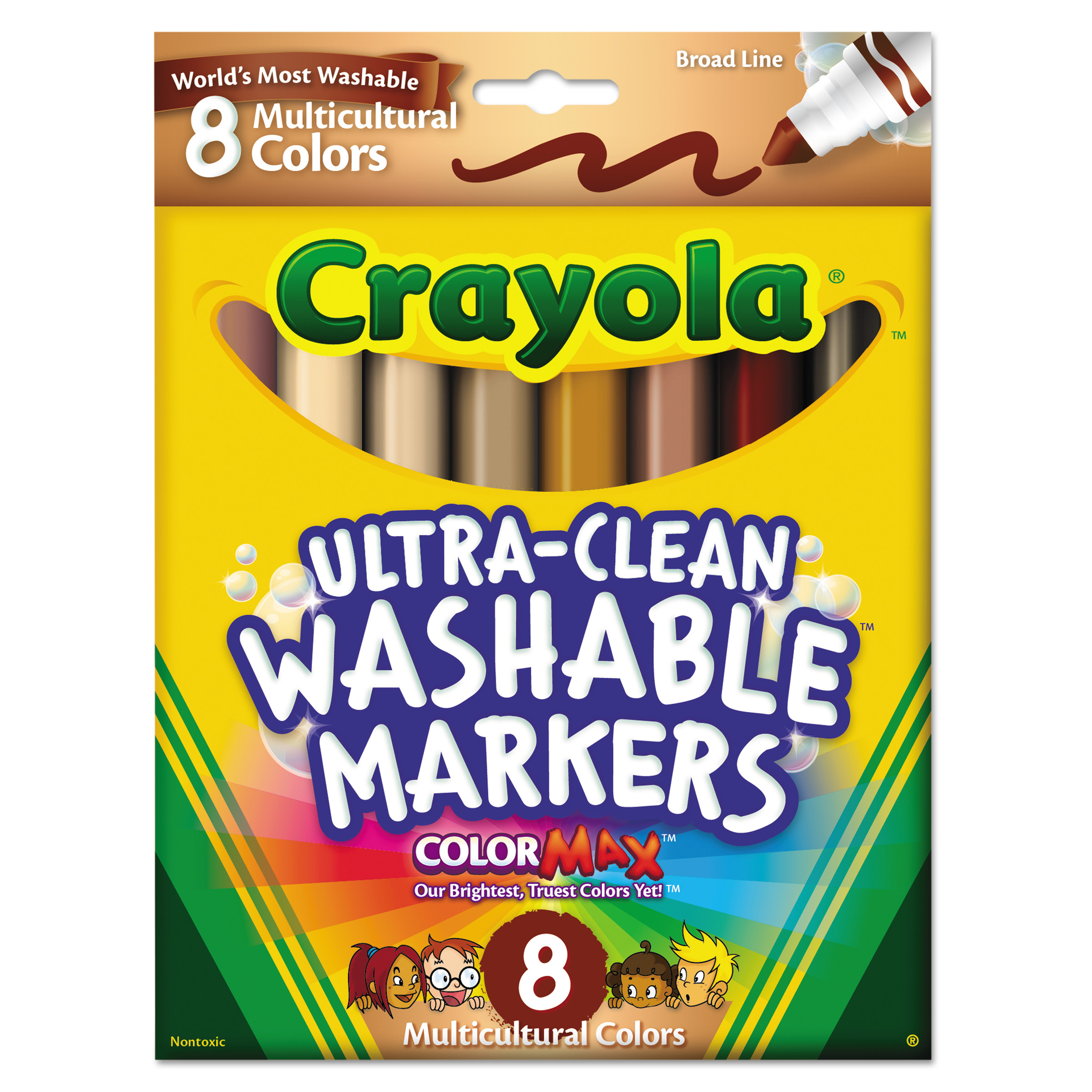 Crayola Washable Markers, Conical Point, Multicultural Colors, 8/Pack -CYO587801