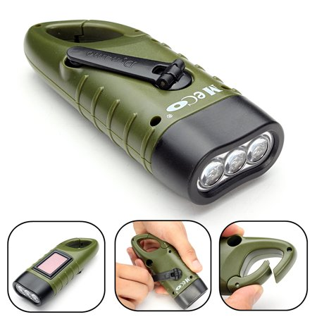 MECO Solar Powered Hand Crank Flashlight Rechargeable LED Emergency Flashlight Cranking Light with Clip For Emergency Hiking Camping Survival Gear