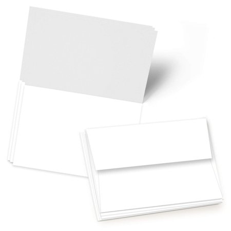 Greeting Cards Set - 5x7 Blank White Cardstock and Envelopes   Perfect Card Stock for Invitations, Bridal Shower, Birthday, Gift, Invitation Letter, Weddings   65 Cover - Set of 50 Table Card Invitations