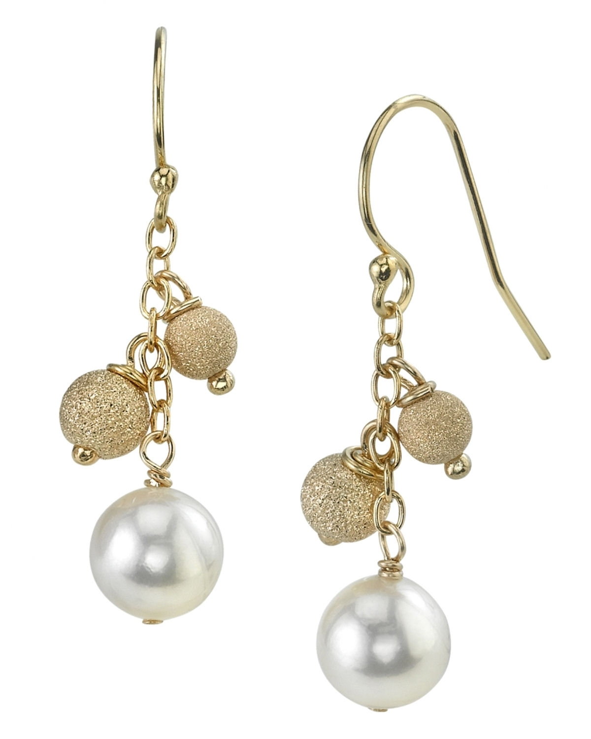 14K Gold 6.0-6.5mm Japanese White Akoya Cultured Pearl Cluster Earrings by The Pearl Source