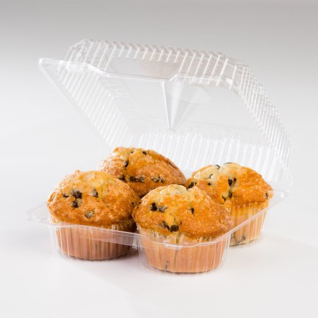 Plastic Cupcake Boxes (Detroit Forming LBH-8604 4 Compartment Clear OPS Plastic Hinged Locking Muffin Cupcake Container 8