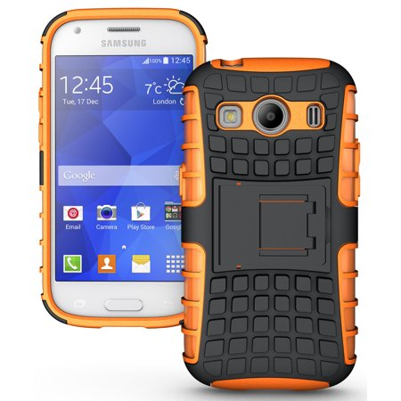 - NAKEDCELLPHONE NEON ORANGE GRENADE GRIP RUGGED TPU SKIN HARD CASE COVER STAND FOR SAMSUNG GALAXY ACE STYLE LTE SM-G357FZ PHONE (aka ACE 4 SM-G357)