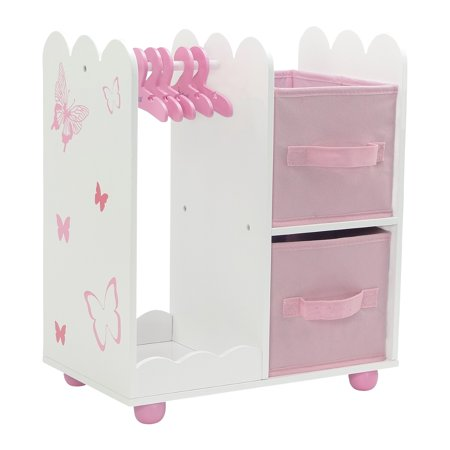 Brilliant 18 Inch Doll Furniture Beautiful Pink And White Open Wardrobe Closet With Butterfly Detail Comes With 5 Doll Clothes Hangers Fits American Girl Home Interior And Landscaping Ologienasavecom