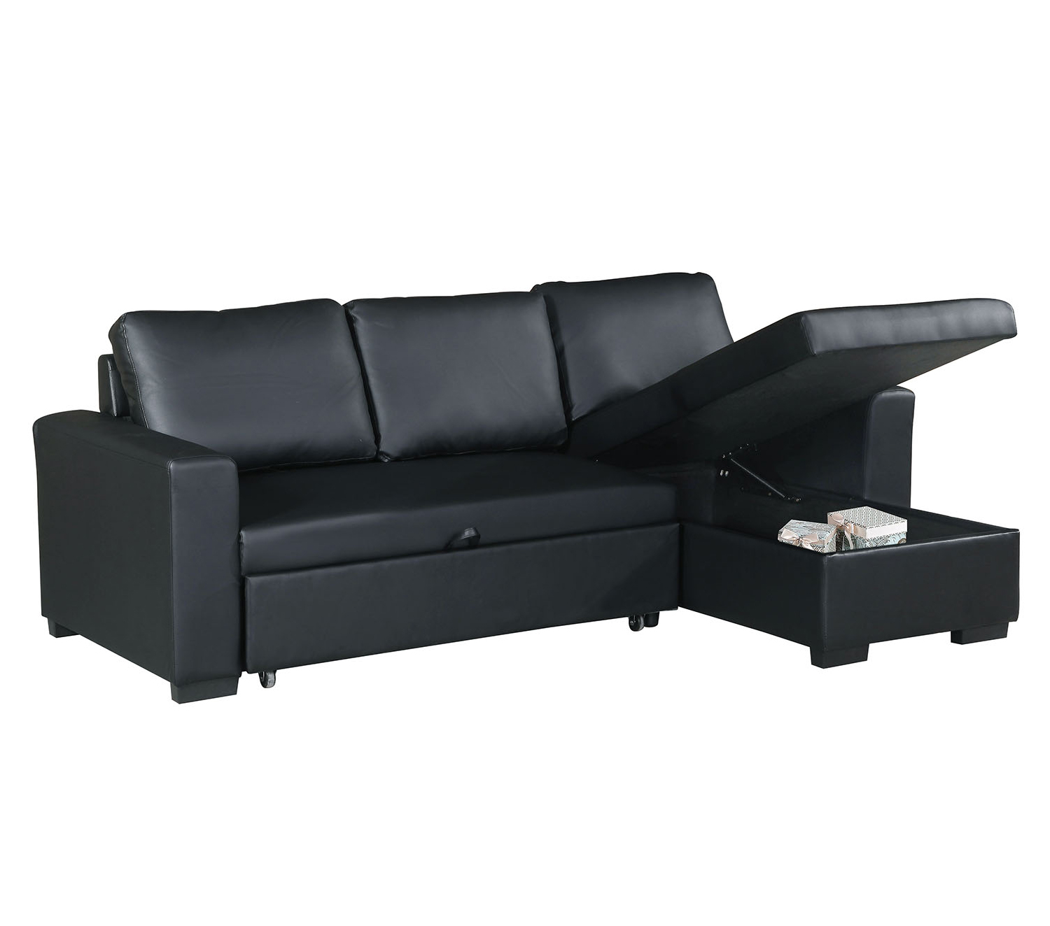 Bobkona Parker Faux Leather 2-Piece Sectional with Pull-Out Bed and Compartment in Black by Poundex