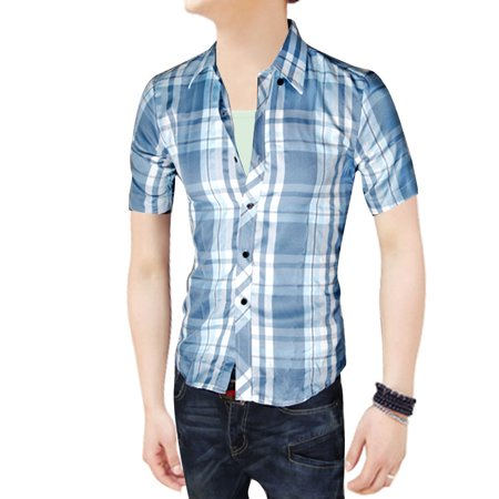 Men 39 s single breasted buttons decor check pattern button for Custom pattern button down shirts