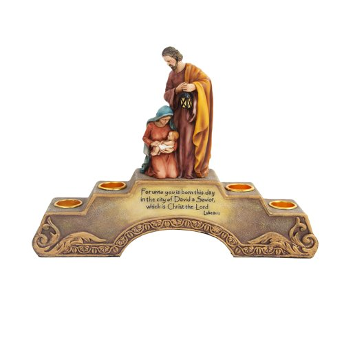 10.5 Inch Holy Family Advent Cold Cast Resin Candle Holder, Multi