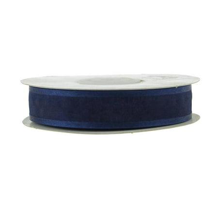 Satin-edge Sheer Organza Ribbon, 7/8-Inch, 25 Yards, Navy Blue