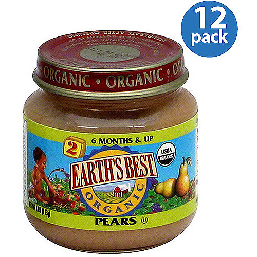 Earth's Best Stage 2 Organic Pears Baby Food, 4 oz (Pack of 12)