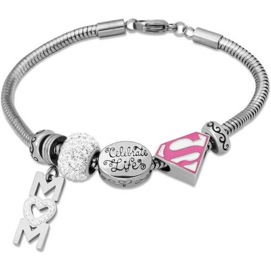 Hallmark Charm Bracelet: Stainless Steel Supermom Charm