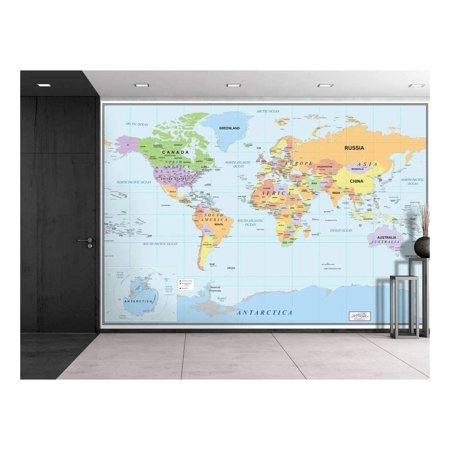 Wall26 2016 Newest World Map - Large Wall Mural, Removable Wallpaper, Home Decor - 66x96 -