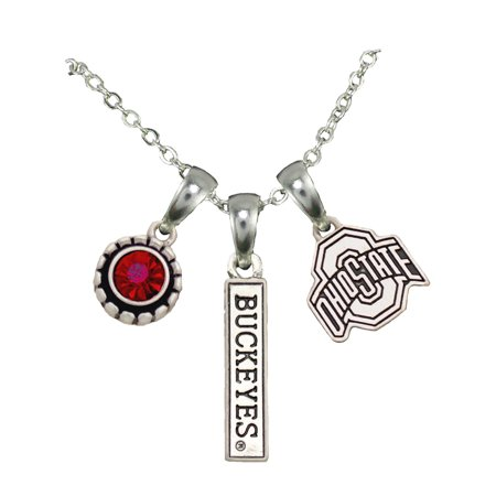 Ohio State Buckeyes 3 Charm Silver Chain Red Charm Necklace Jewelry (Osu Pendant)