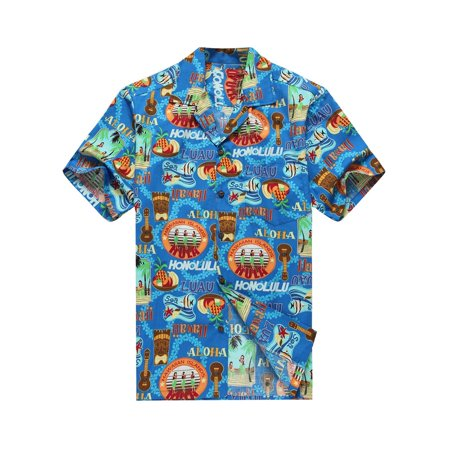 Made In Hawaii Hawaiian Shirt  Aloha Shirt In Tiki Hula Girls Ukulele In Blue