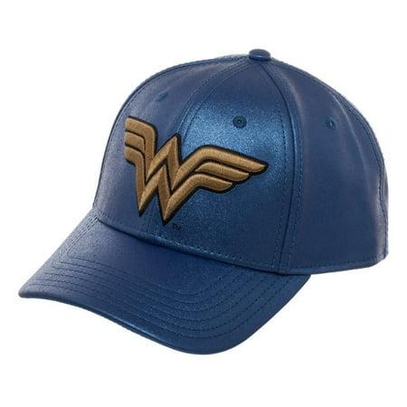 DC Comics Wonder Woman Logo Glitter Curved Bill Snapback - Wonder Woman Hat