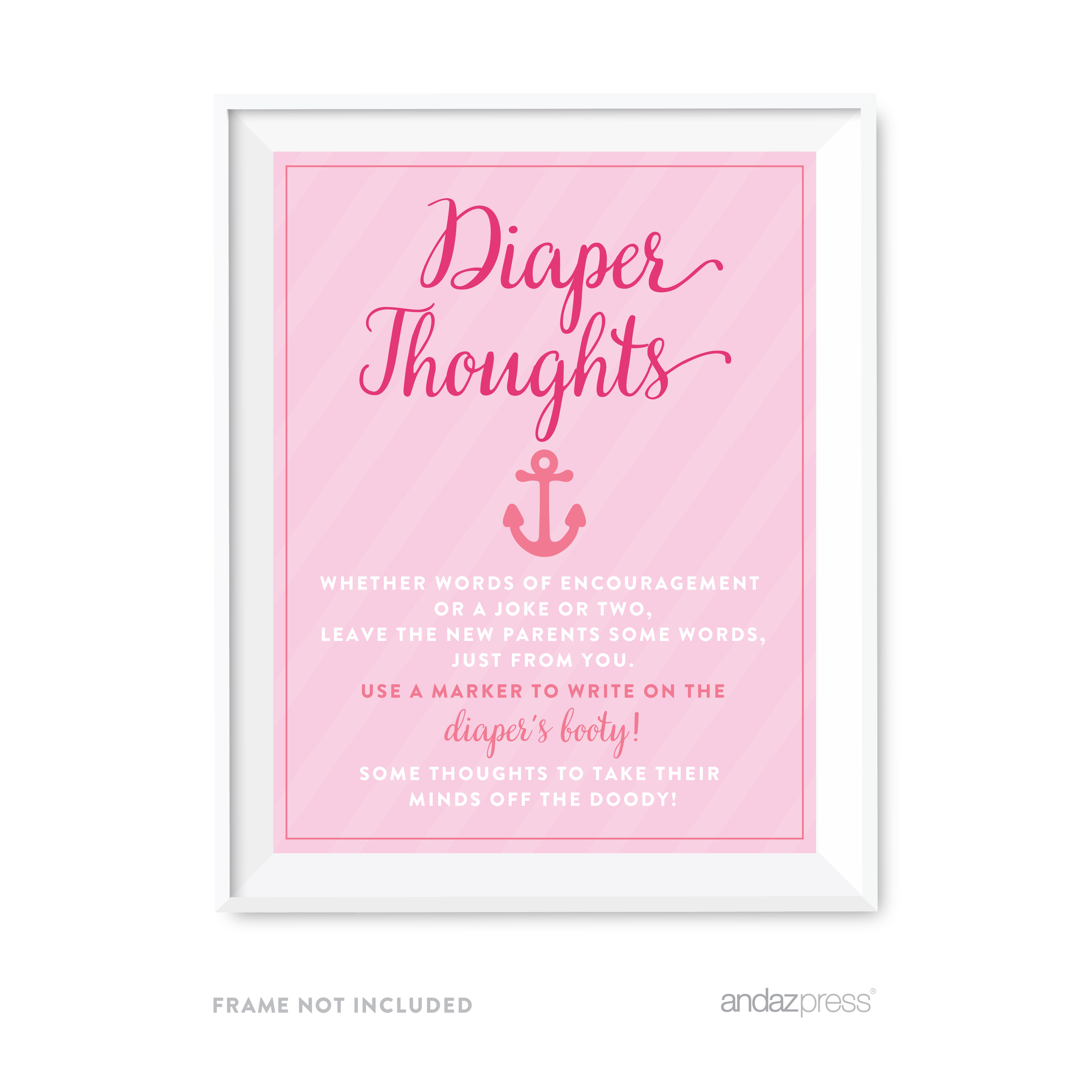 Diaper Thoughts Pink Girl Nautical Baby Shower Game Diaper Thoughts Party Sign