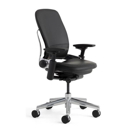steelcase leap chair v2 in black leather and in polished aluminium executive office chair - Steelcase Leap Chair