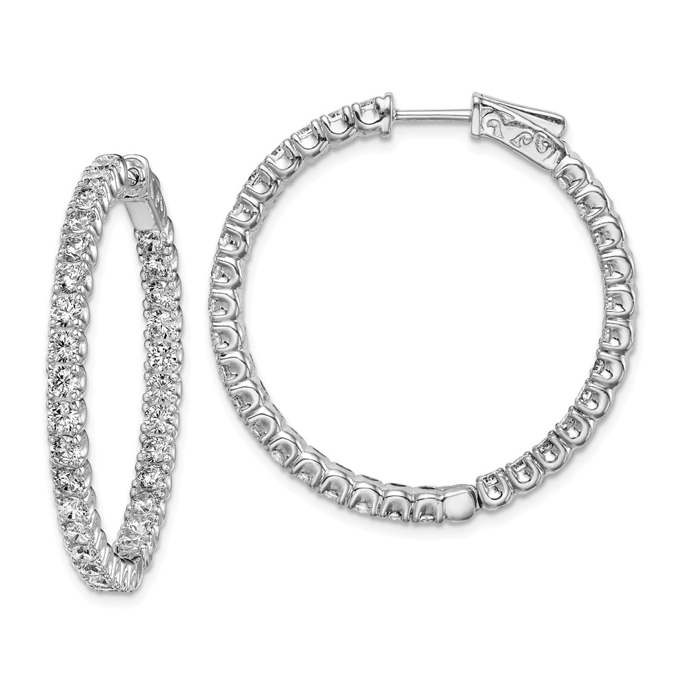 Sterling Silver Rhodium Plated with CZ 1.25IN Hinged Hoop Earrings (1.2IN x 1.2IN )