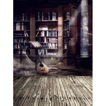 ABPHOTO Polyester Wooden Floor Vintage Room Guitar Books Photography Backdrops Photo Props Studio Background 5x7ft](Guitar Prop)