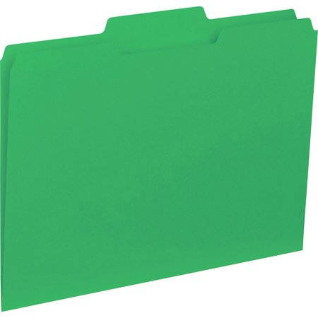 Business Source, BSN43563, 1/3-cut Colored Interior File Folders, 100 / Box, Green