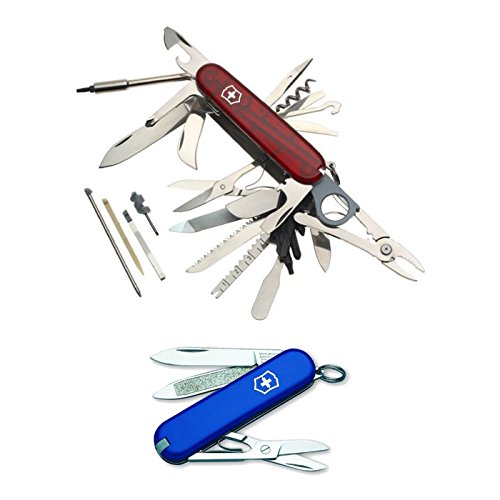 Victorinox 53504 Swiss Army SwissChamp XLT (Translucent Ruby) and Classic SD Pocket Knife (Blue)