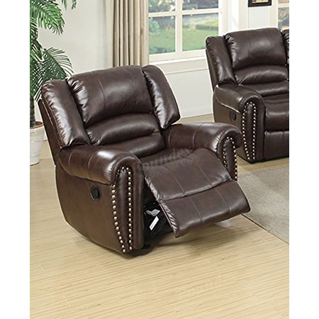 Xl Recliner (Poundex F6755 Velenje Motion Sofa Set in Brown Bonded Leather (XL Rocking Recliner Chair))