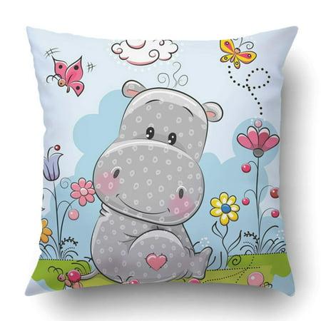 Cute Hippie Girl (WOPOP Baby Cute Cartoon Hippo With Flowers And Butterflies On Meadow Birthday Girl Pillowcase Cover Cushion 18x18)
