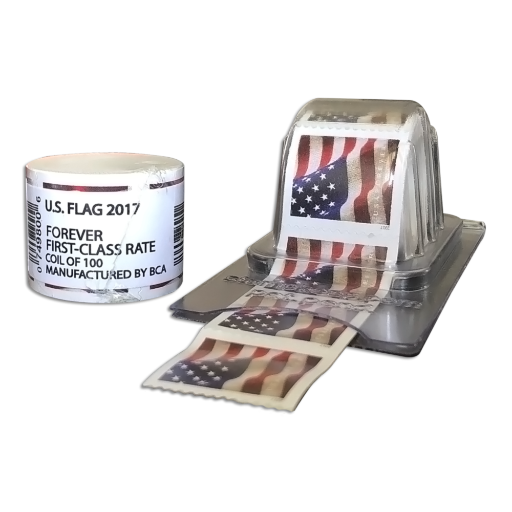 (1 Roll) 100 USPS Forever Stamps US Flag Coil & Postage Dispenser Keeper by