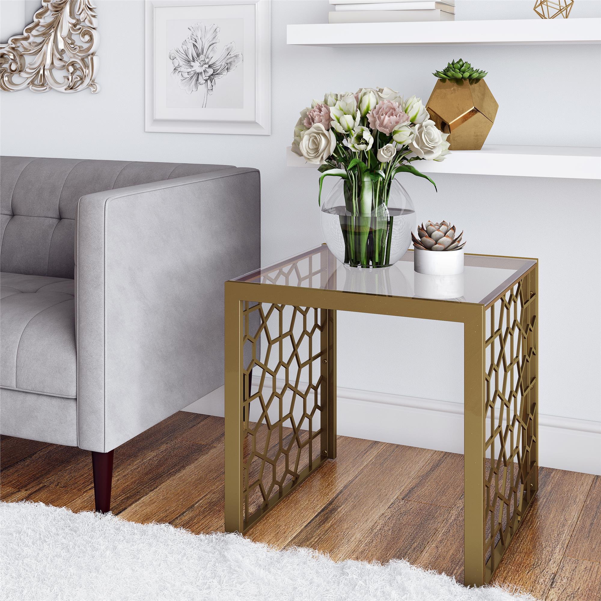 Cosmoliving Juliette Side Table Living Room Brass Tempered Glass Walmart Com Walmart Com