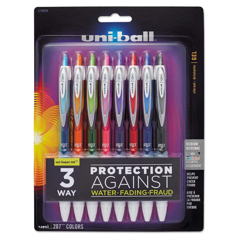 uni-ball Signo Gel 207 Roller Ball Retractable Gel Pen, Assorted Ink, Medium, 8 per Set, Textured grip provides superior writingWalmartfort and.., By Uniball