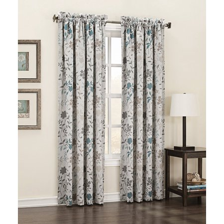 Kara Floral Print Energy Efficient Curtain Panel  54  X 84   Stone Beige  100  Polyester