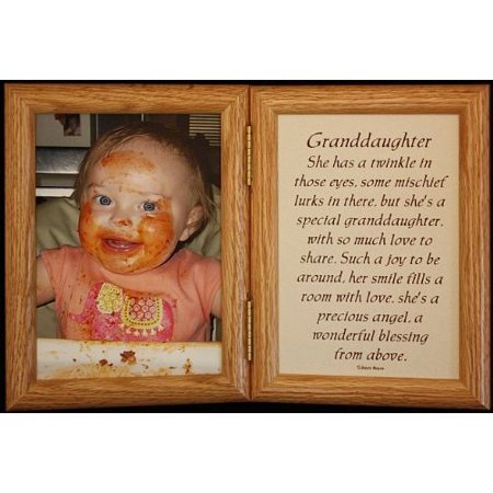 Grandma Grandpa Frame (5X7 Hinged Granddaughter Poem Oak Picture Photo Frame ~ Grandparents, Grandpa Or Grandma )