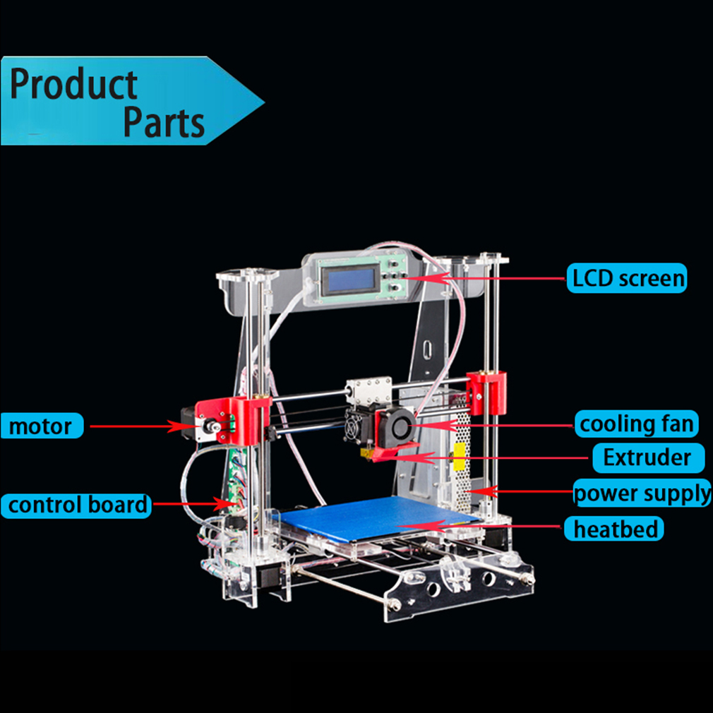 LESHP Professiona Tronxy P802M High Precision Reprap Prusa i3 DIY 3d Printer LCD Screen 3D Printer Tool Kit Clear
