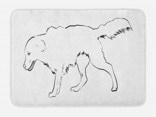 Golden Retriever Bath Mat Sketch Art Outline Of A Dog